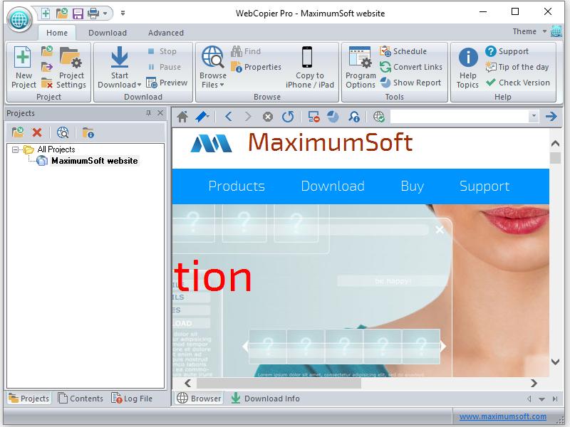MaximumSoft :: Products :: WebCopier Pro